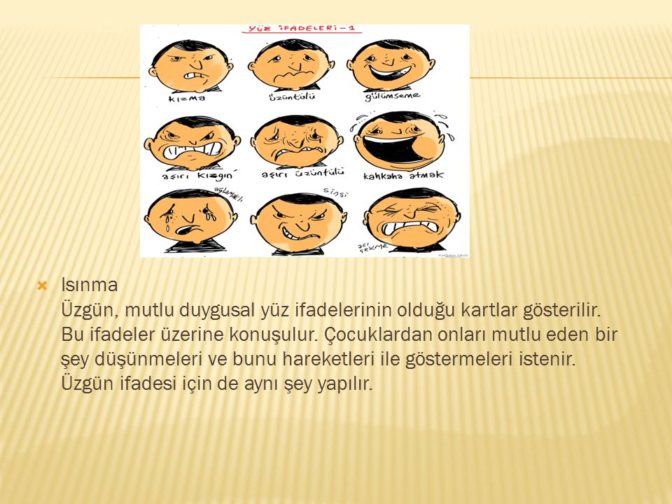 Isınma Üzgün, mutlu duygusal yüz ifadelerinin olduğu kartlar gösterilir.