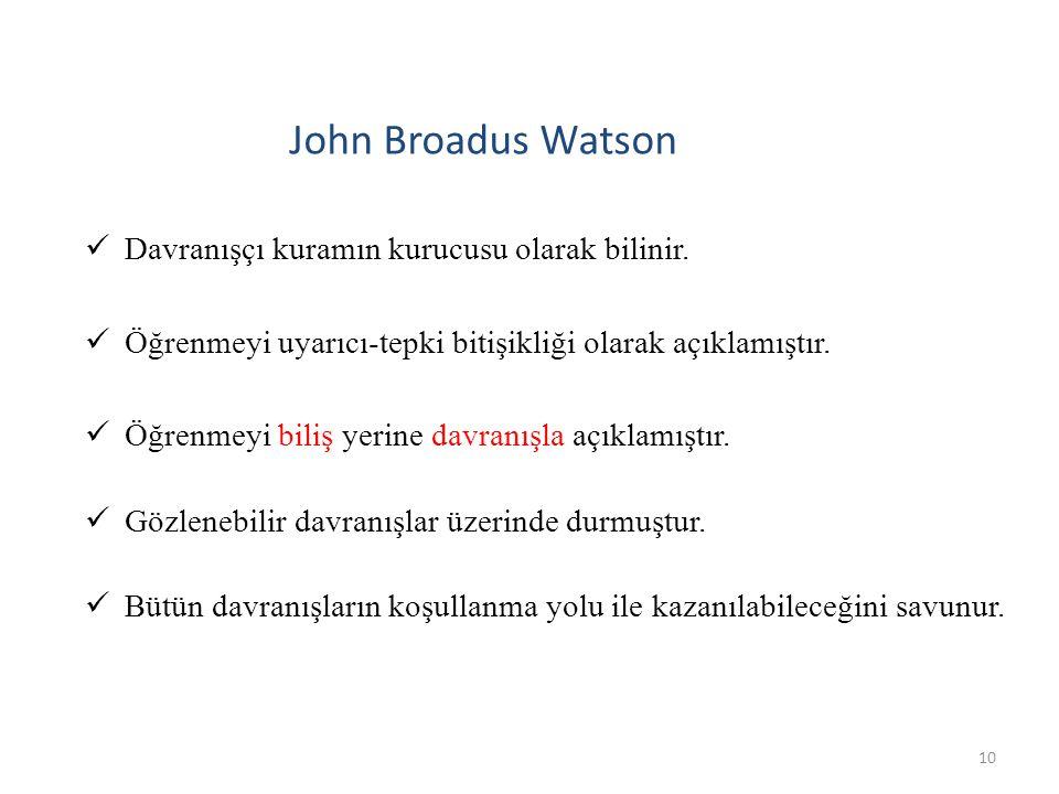 John Broadus Watson Davranışçı kuramın kurucusu olarak bilinir.