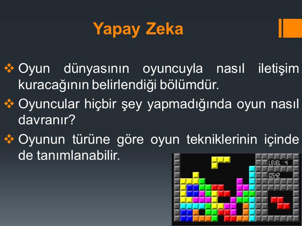 Yapay Zeka Oyun dünyasının oyuncuyla nasıl iletişim kuracağının belirlendiği bölümdür. Oyuncular hiçbir şey yapmadığında oyun nasıl davranır