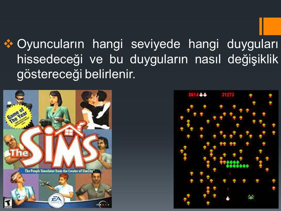 Oyuncuların hangi seviyede hangi duyguları hissedeceği ve bu duyguların nasıl değişiklik göstereceği belirlenir.