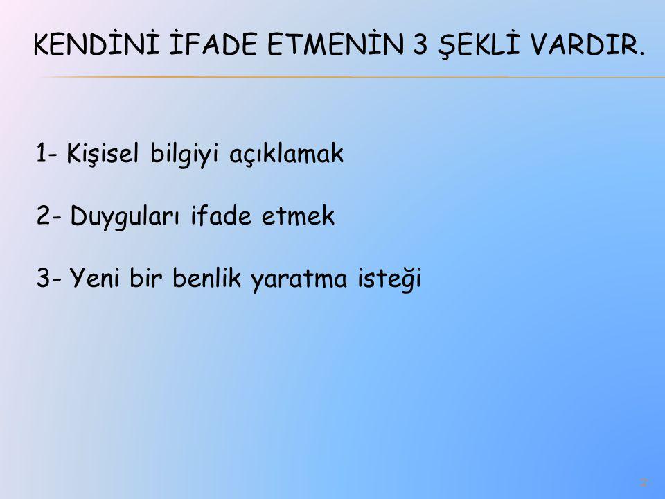 KENDİNİ İFADE ETMENİN 3 ŞEKLİ VARDIR.