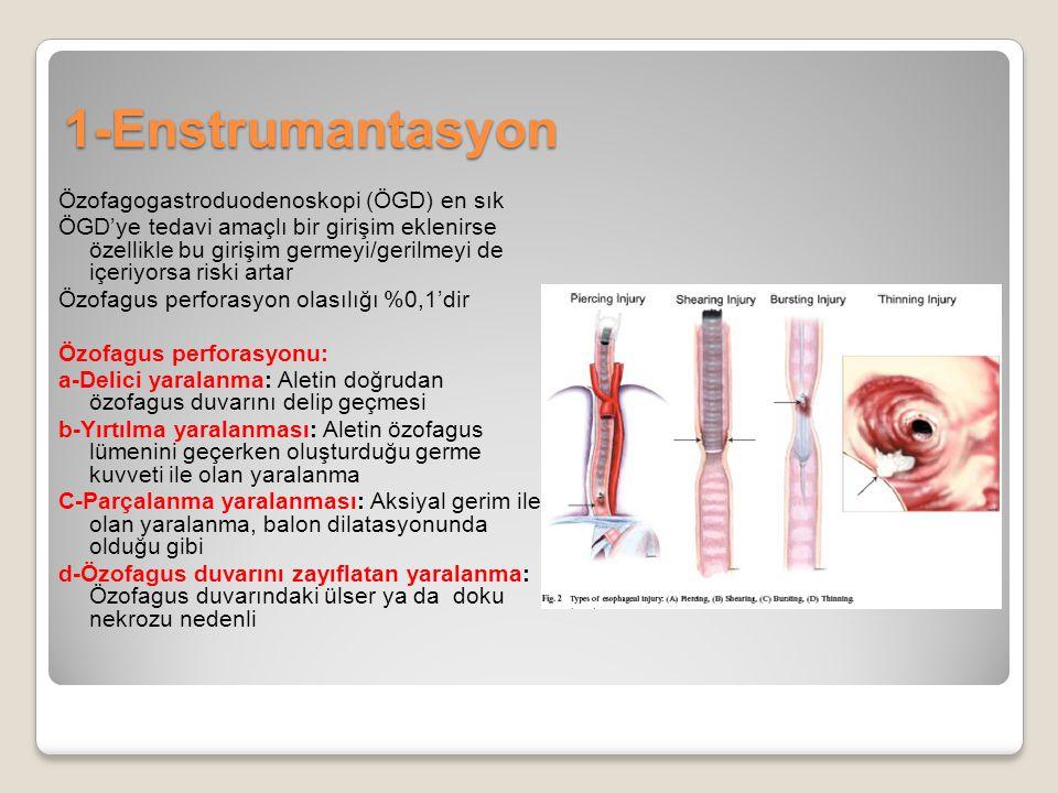 1-Enstrumantasyon Özofagogastroduodenoskopi (ÖGD) en sık