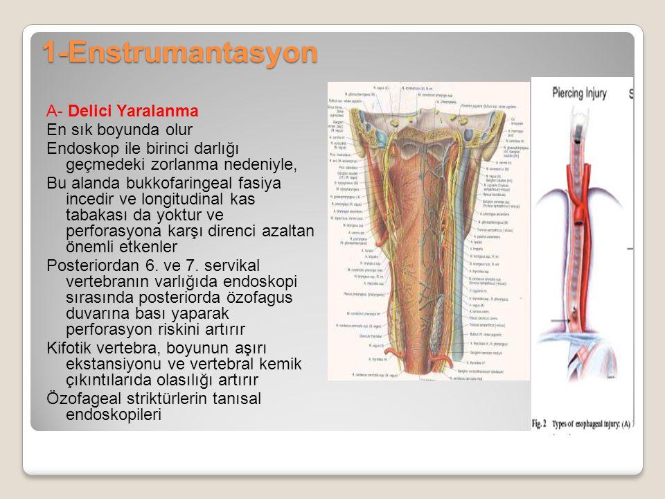1-Enstrumantasyon A- Delici Yaralanma En sık boyunda olur