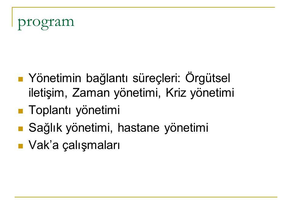 program Yönetimin bağlantı süreçleri: Örgütsel iletişim, Zaman yönetimi, Kriz yönetimi. Toplantı yönetimi.