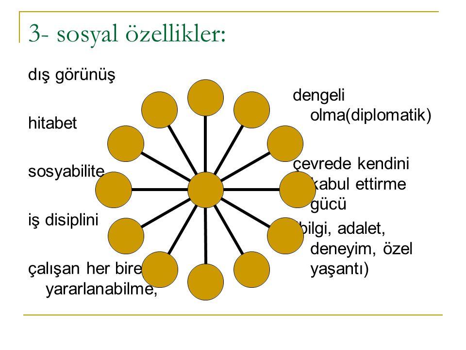 3- sosyal özellikler: dış görünüş hitabet dengeli olma(diplomatik)