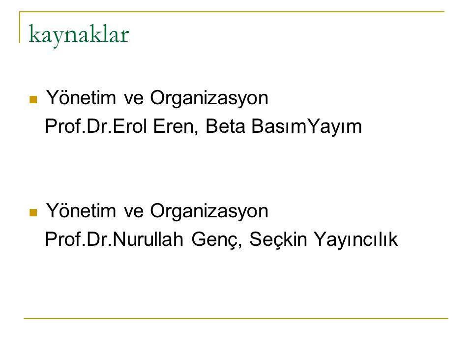 kaynaklar Yönetim ve Organizasyon Prof.Dr.Erol Eren, Beta BasımYayım