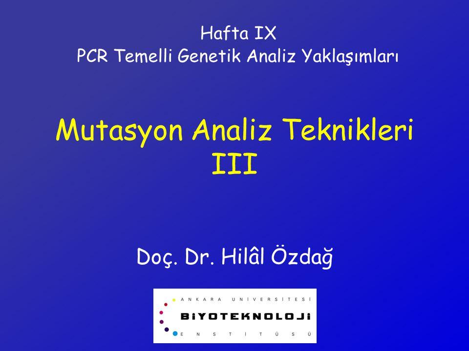 Mutasyon Analiz Teknikleri III