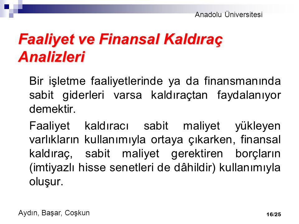Faaliyet ve Finansal Kaldıraç Analizleri