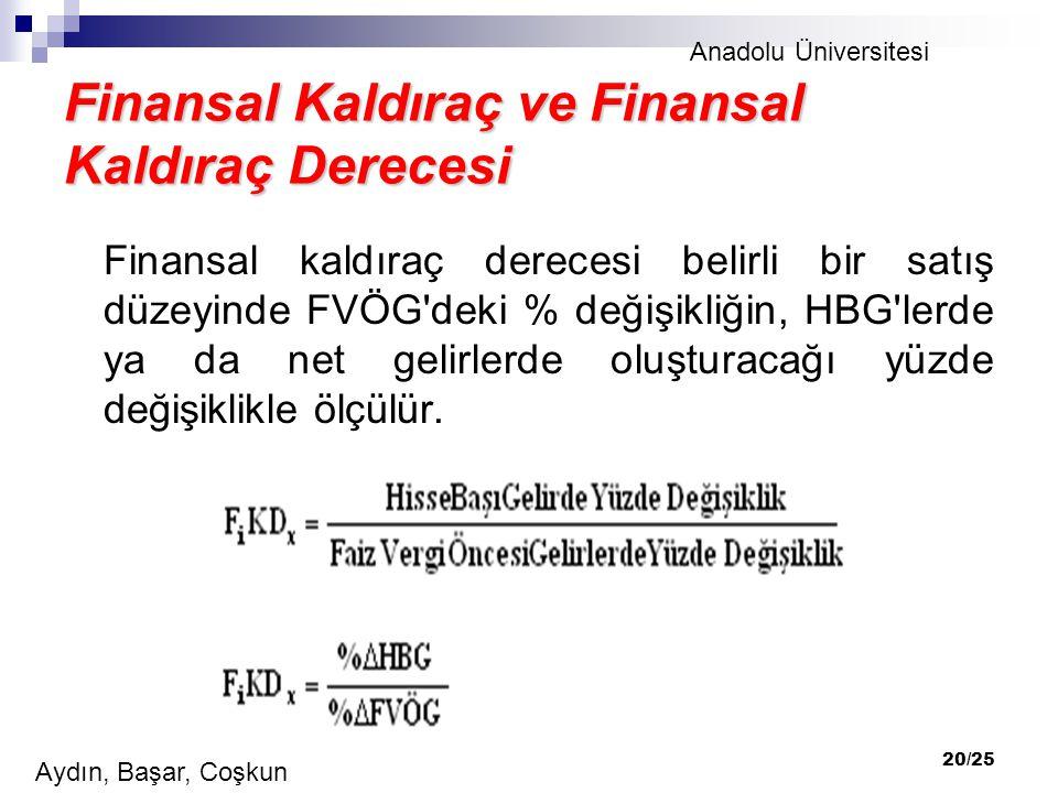 Finansal Kaldıraç ve Finansal Kaldıraç Derecesi