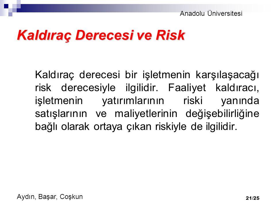 Kaldıraç Derecesi ve Risk