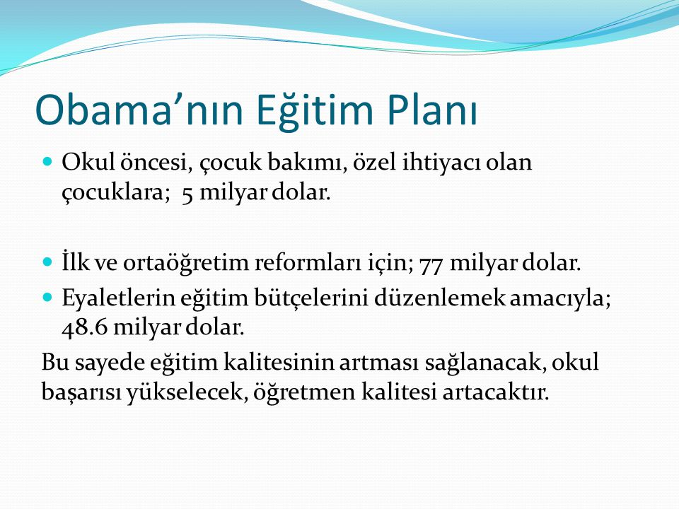 Obama'nın Eğitim Planı