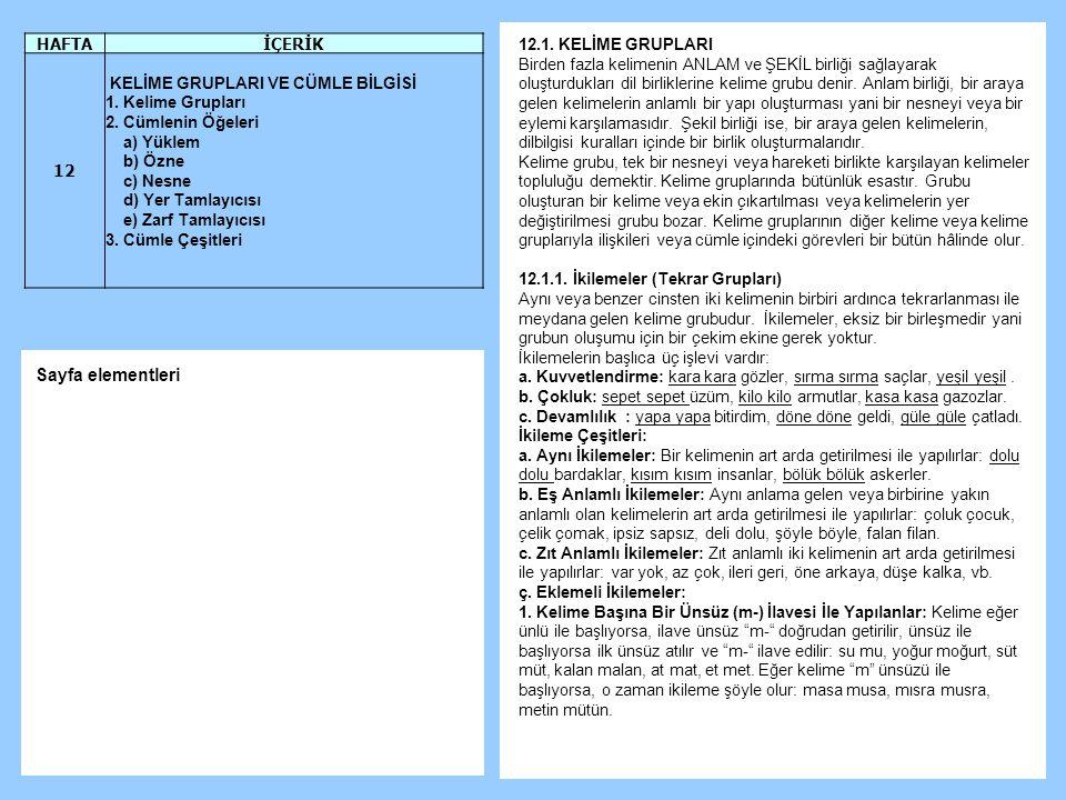 Sayfa elementleri HAFTA İÇERİK 12 12.1. KELİME GRUPLARI