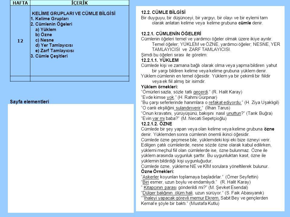 Sayfa elementleri HAFTA İÇERİK 12 KELİME GRUPLARI VE CÜMLE BİLGİSİ