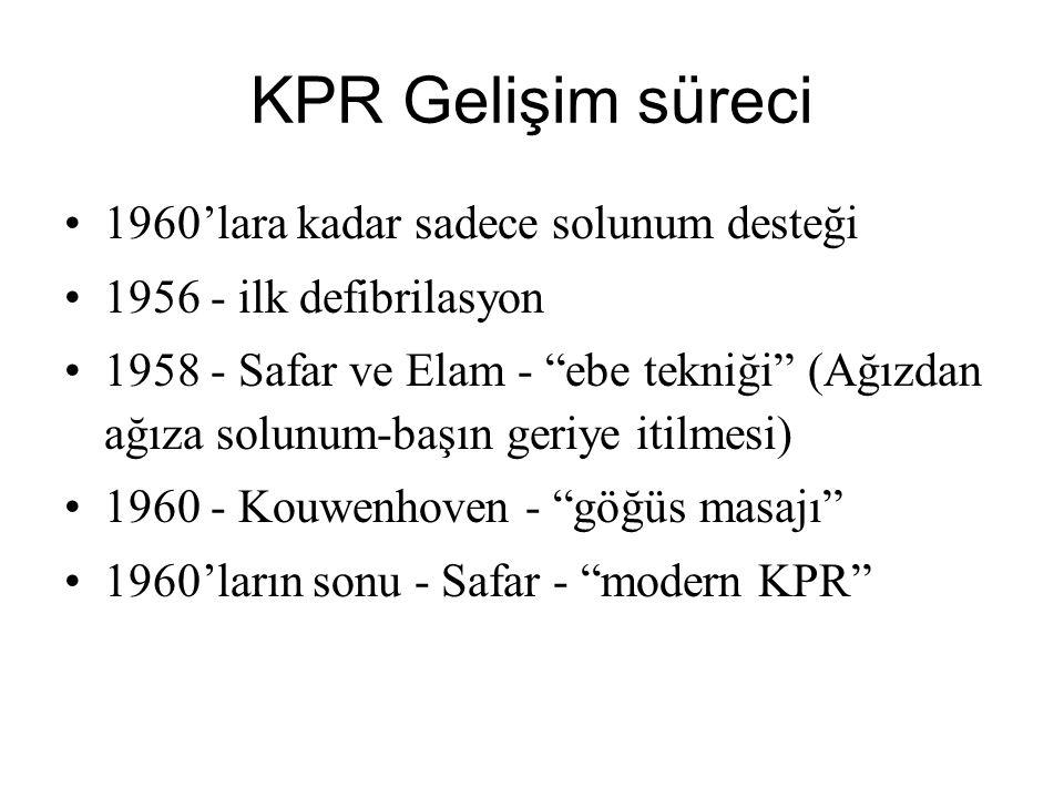 KPR Gelişim süreci 1960'lara kadar sadece solunum desteği