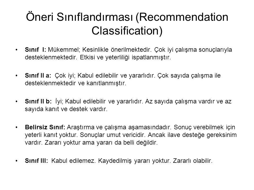 Öneri Sınıflandırması (Recommendation Classification)