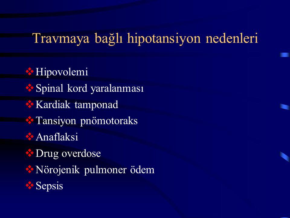 Travmaya bağlı hipotansiyon nedenleri
