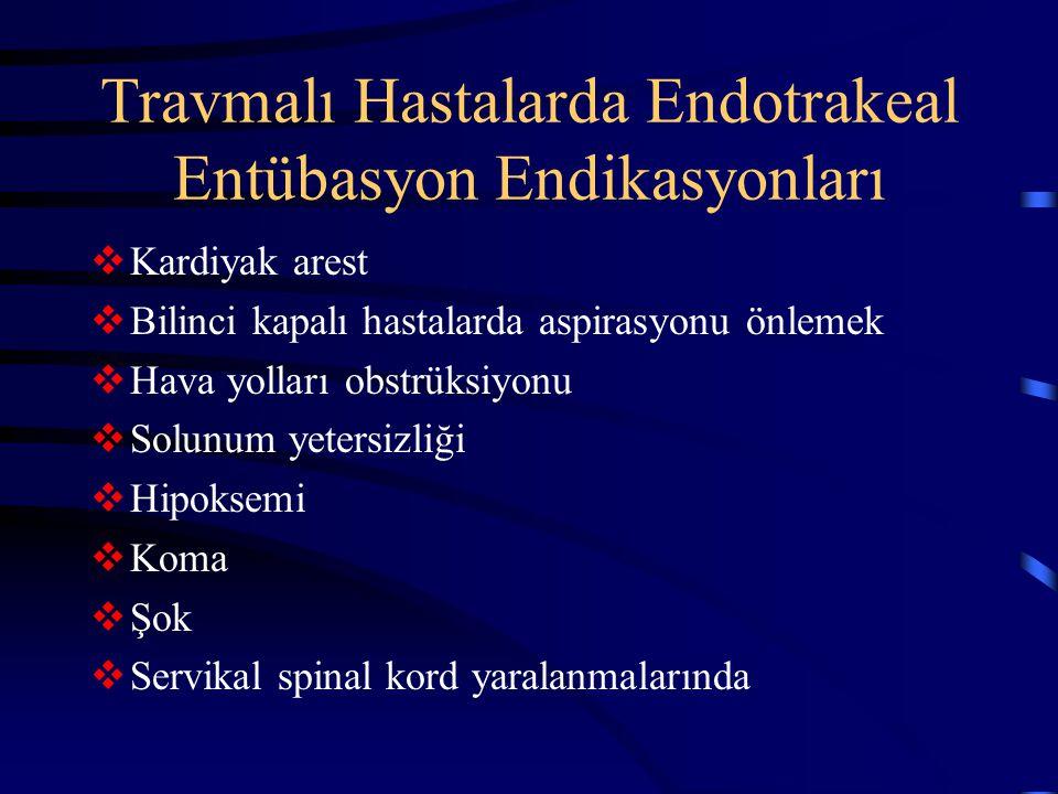 Travmalı Hastalarda Endotrakeal Entübasyon Endikasyonları