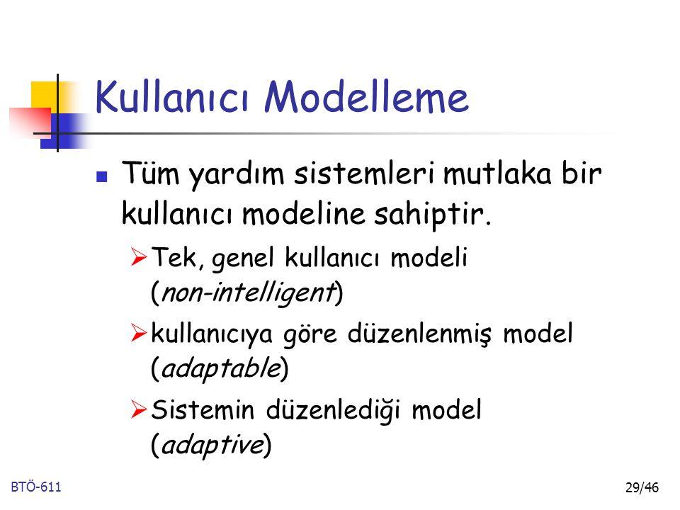 Kullanıcı Modelleme Tüm yardım sistemleri mutlaka bir kullanıcı modeline sahiptir. Tek, genel kullanıcı modeli (non-intelligent)