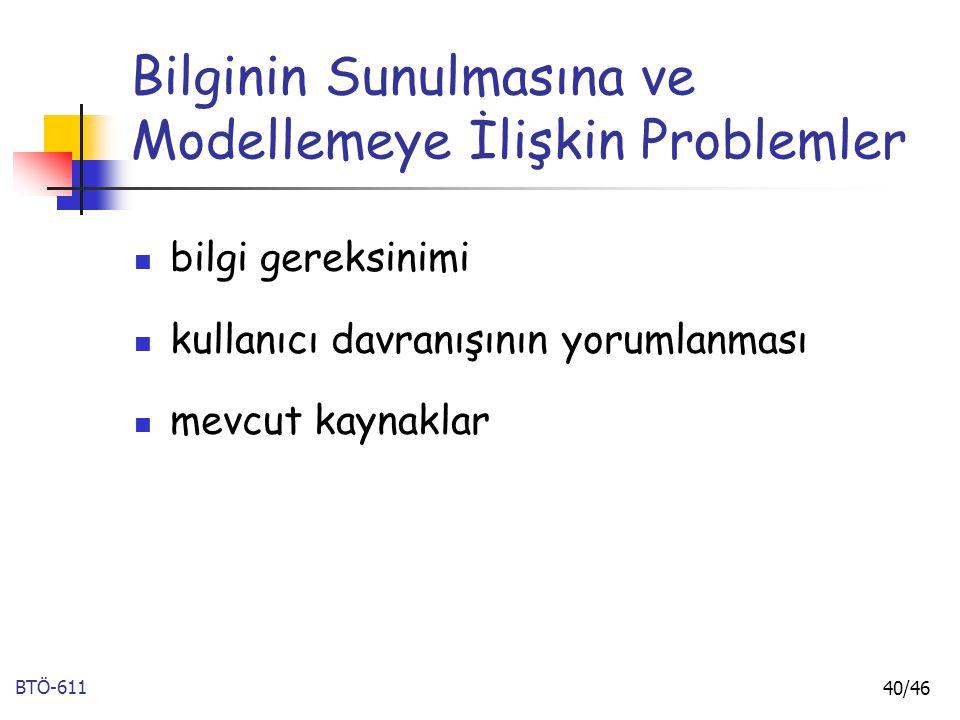 Bilginin Sunulmasına ve Modellemeye İlişkin Problemler