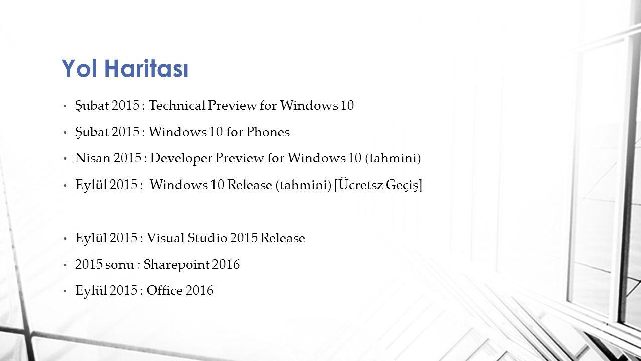 Yol Haritası Şubat 2015 : Technical Preview for Windows 10