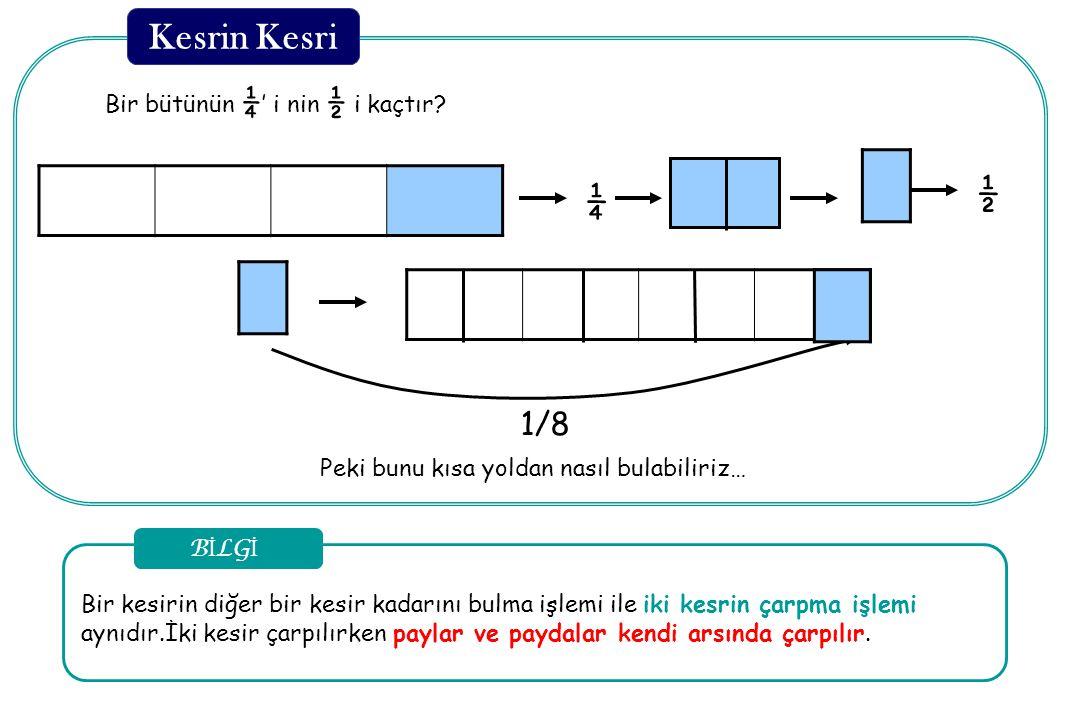 Kesrin Kesri ½ ¼ 1/8 Bir bütünün ¼' i nin ½ i kaçtır