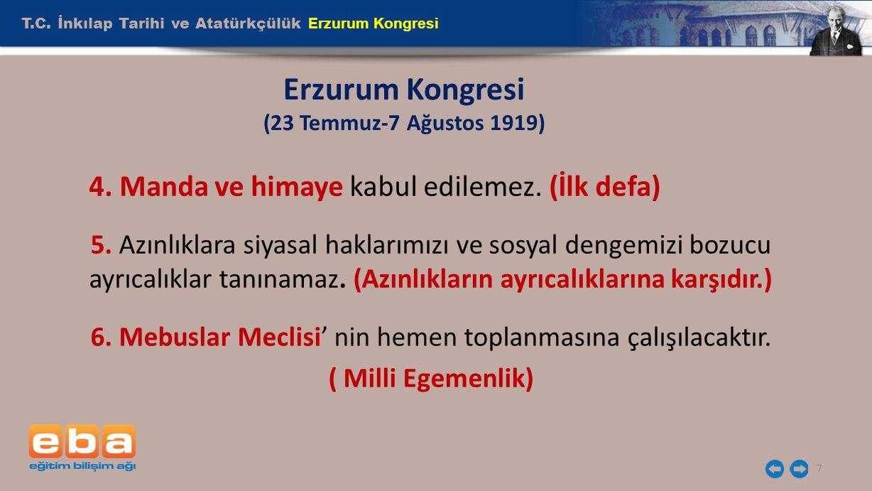 Erzurum Kongresi (23 Temmuz-7 Ağustos 1919)