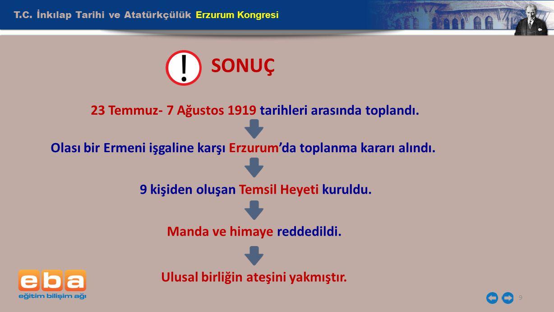 SONUÇ T.C. İnkılap Tarihi ve Atatürkçülük Erzurum Kongresi