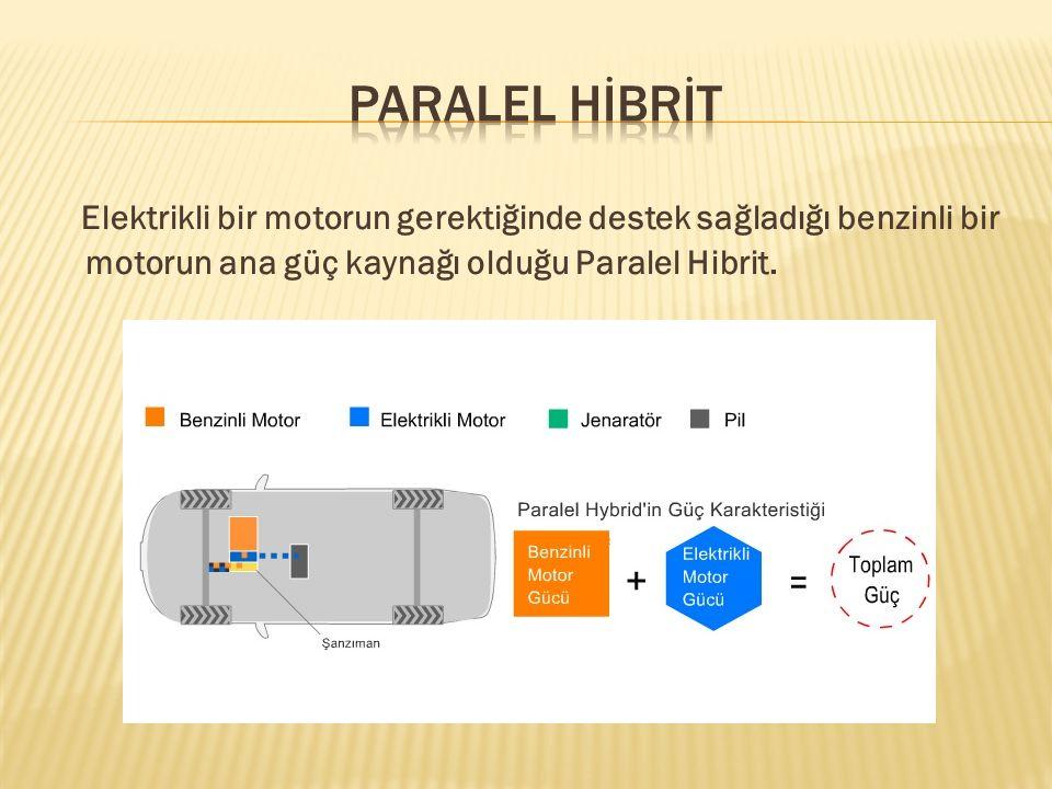 PARALEL HİBRİT Elektrikli bir motorun gerektiğinde destek sağladığı benzinli bir motorun ana güç kaynağı olduğu Paralel Hibrit.