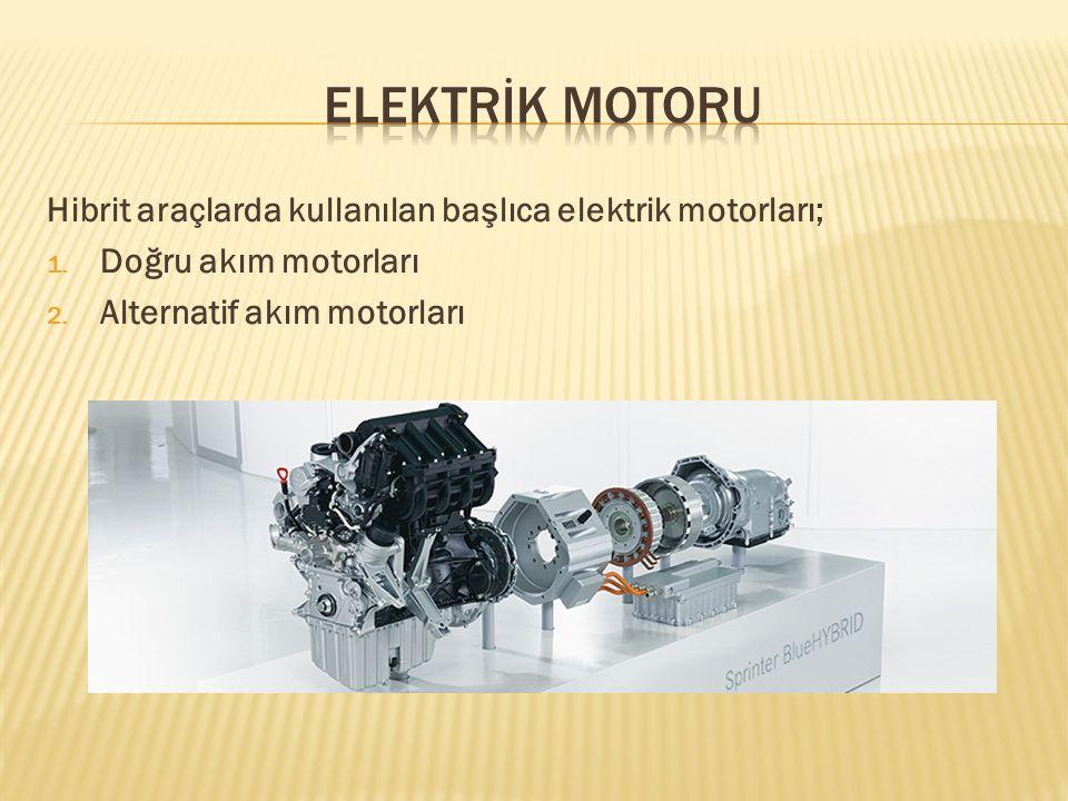 ELEKTRİK MOTORU Hibrit araçlarda kullanılan başlıca elektrik motorları; Doğru akım motorları.