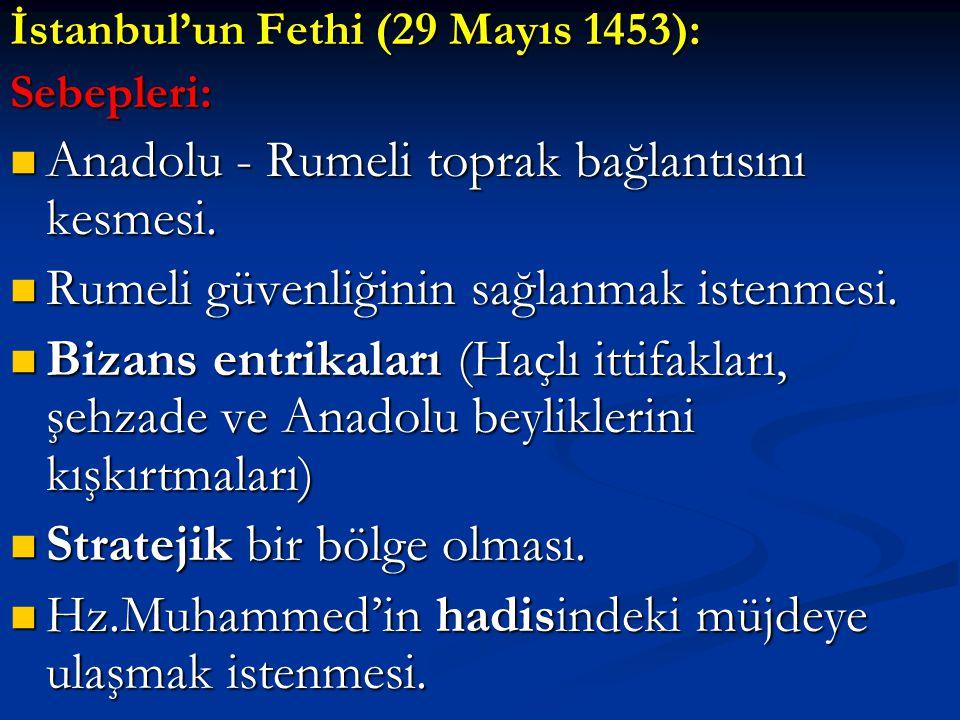 Anadolu - Rumeli toprak bağlantısını kesmesi.