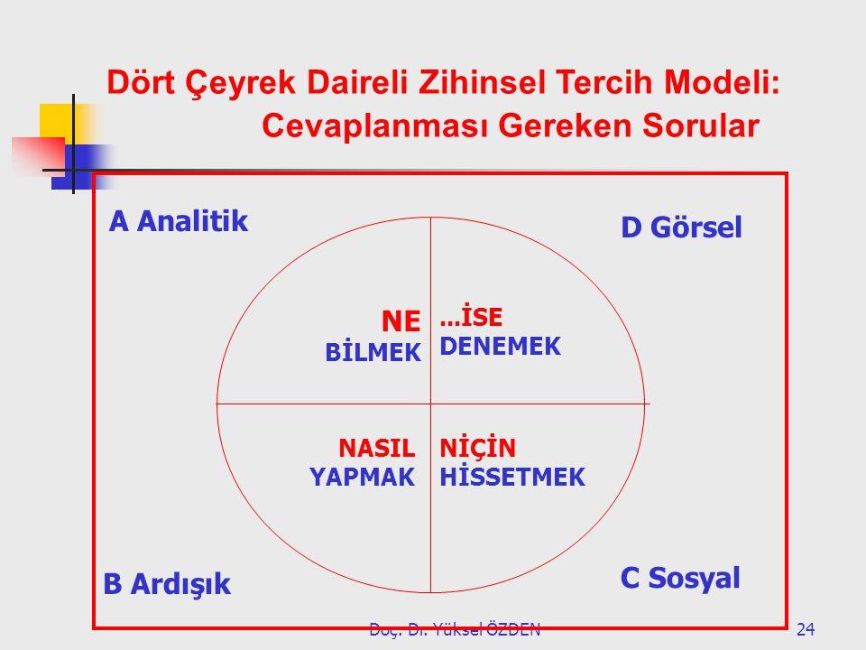 Dört Çeyrek Daireli Zihinsel Tercih Modeli: