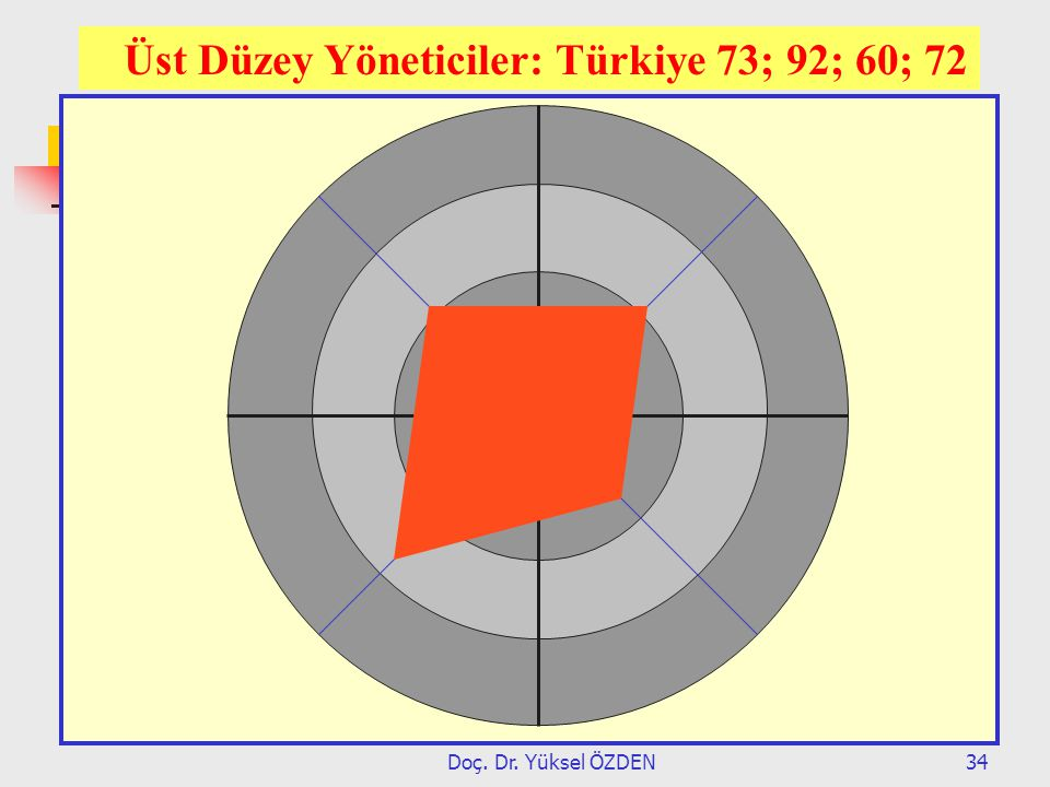 Üst Düzey Yöneticiler: Türkiye 73; 92; 60; 72
