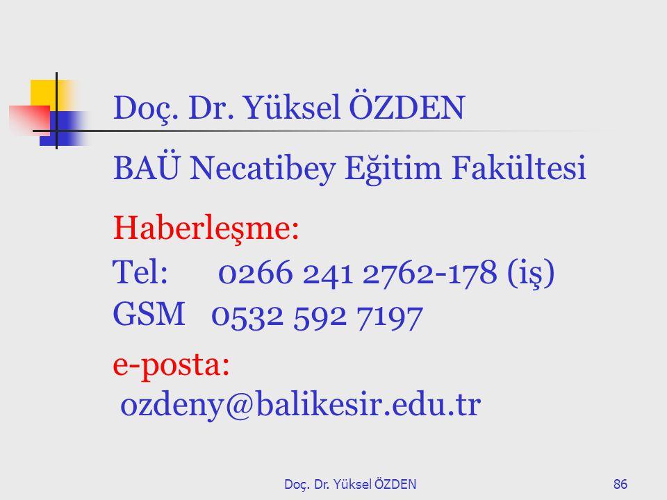 BAÜ Necatibey Eğitim Fakültesi Haberleşme: Tel: 0266 241 2762-178 (iş)