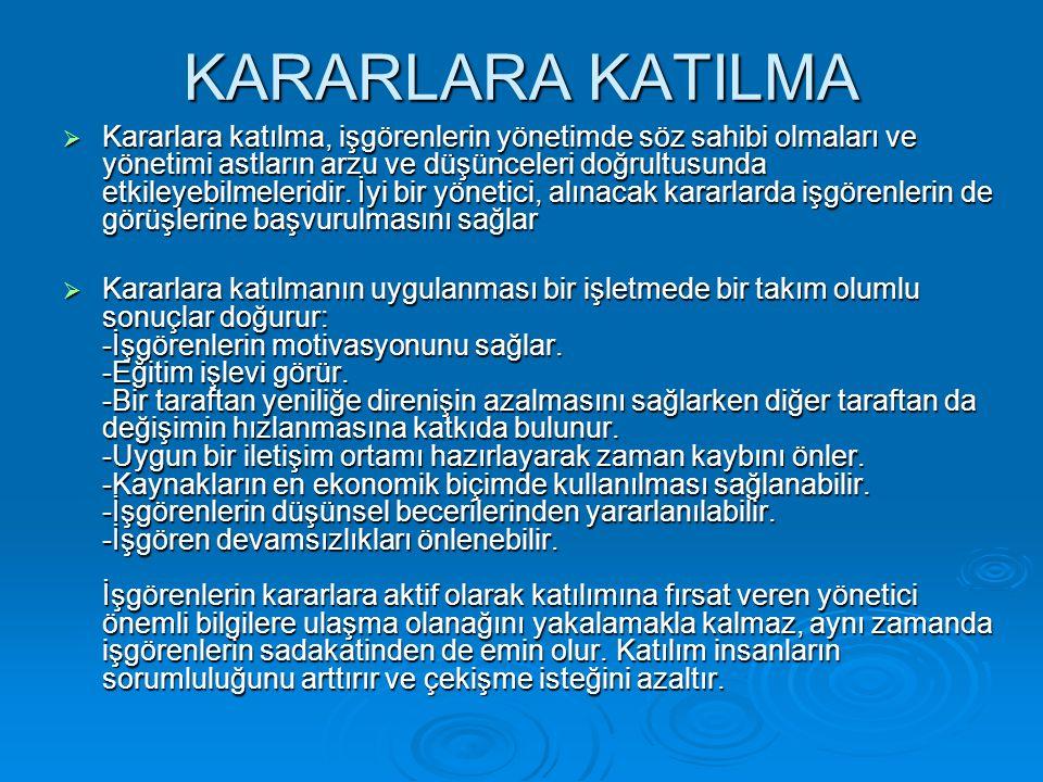 KARARLARA KATILMA