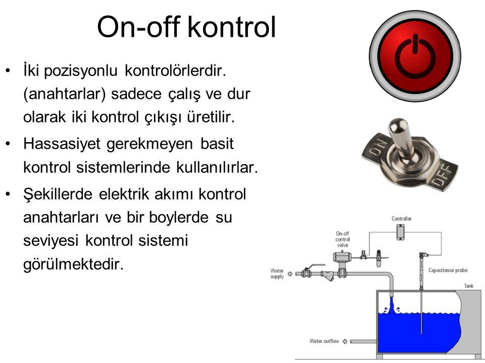 On-off kontrol İki pozisyonlu kontrolörlerdir. (anahtarlar) sadece çalış ve dur olarak iki kontrol çıkışı üretilir.