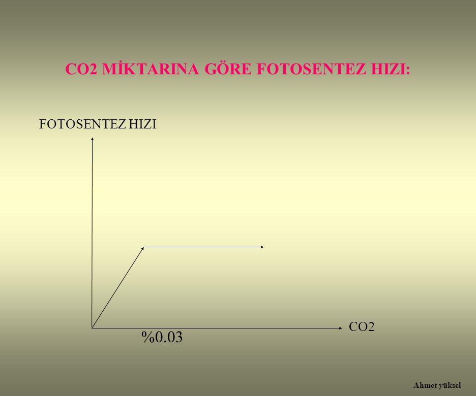CO2 MİKTARINA GÖRE FOTOSENTEZ HIZI: