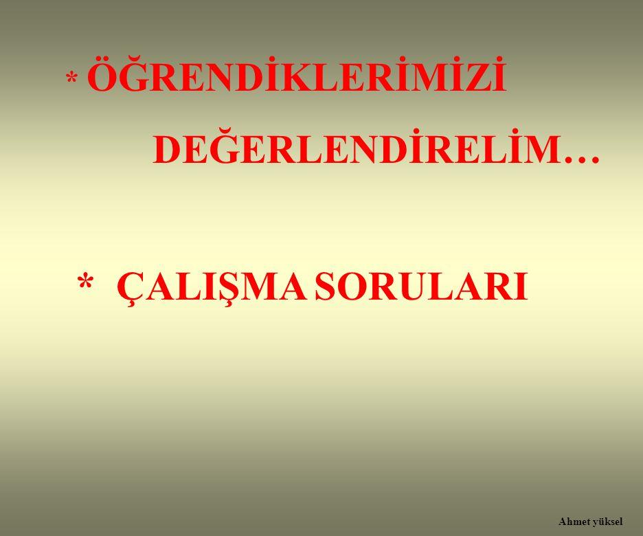 * ÖĞRENDİKLERİMİZİ DEĞERLENDİRELİM… * ÇALIŞMA SORULARI Ahmet yüksel