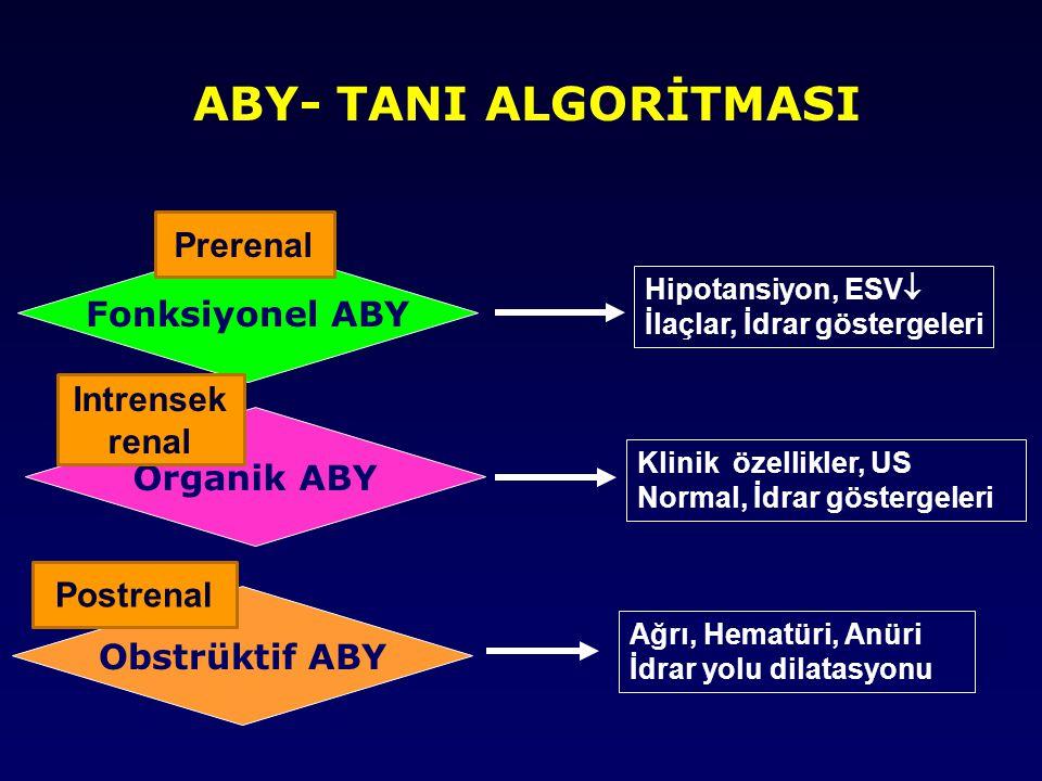 ABY- TANI ALGORİTMASI Prerenal Fonksiyonel ABY Intrensek renal