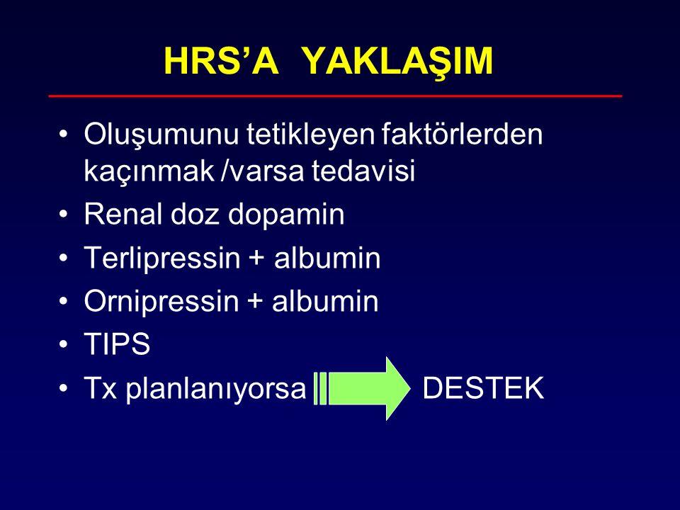 HRS'A YAKLAŞIM Oluşumunu tetikleyen faktörlerden kaçınmak /varsa tedavisi. Renal doz dopamin. Terlipressin + albumin.