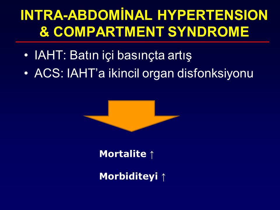 INTRA-ABDOMİNAL HYPERTENSION & COMPARTMENT SYNDROME
