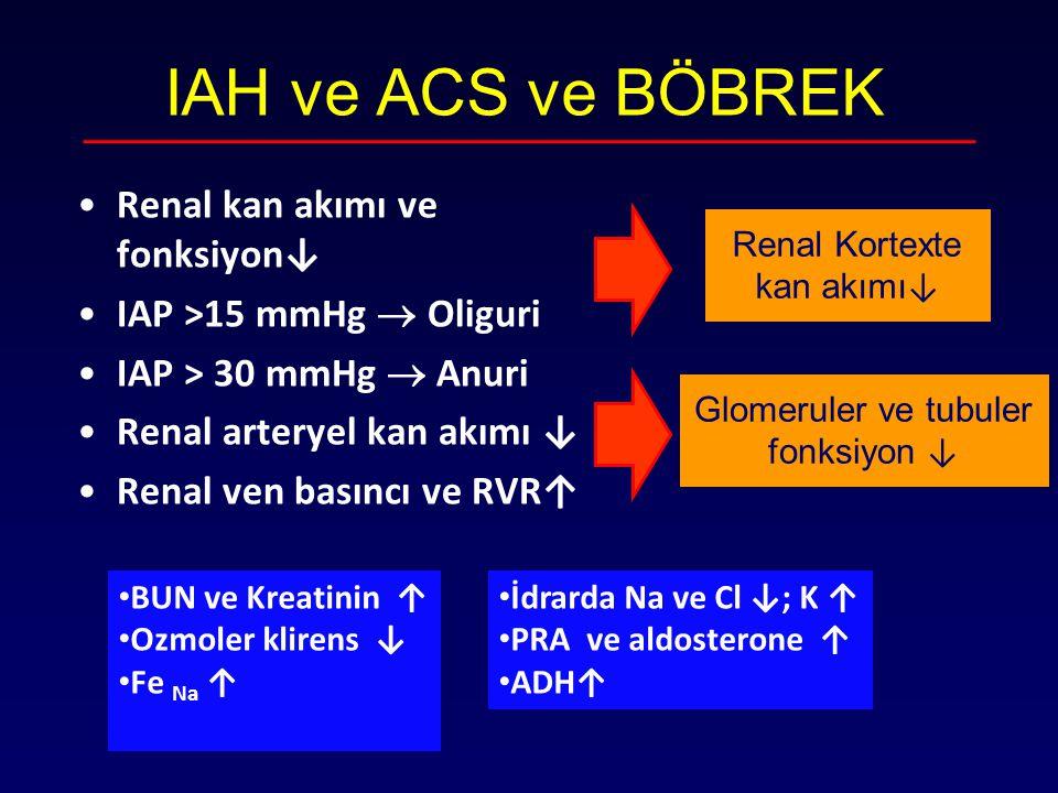 IAH ve ACS ve BÖBREK Renal kan akımı ve fonksiyon↓
