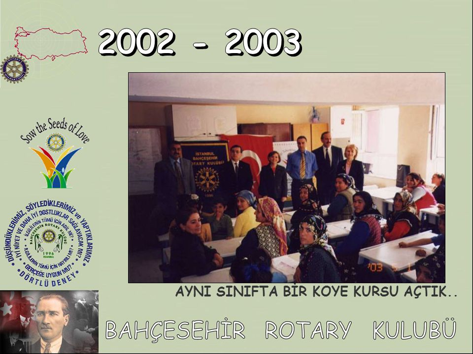 2002 - 2003 AYNI SINIFTA BİR KOYE KURSU AÇTIK..