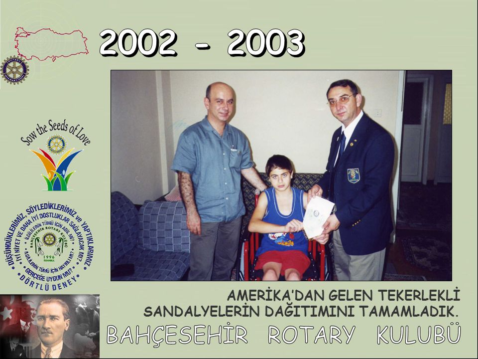 2002 - 2003 AMERİKA'DAN GELEN TEKERLEKLİ SANDALYELERİN DAĞITIMINI TAMAMLADIK.