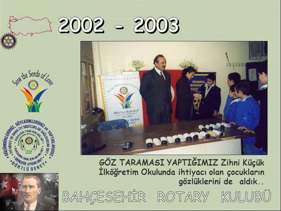 2002 - 2003 GÖZ TARAMASI YAPTIĞIMIZ Zihni Küçük İlköğretim Okulunda ihtiyacı olan çocukların gözlüklerini de aldık..