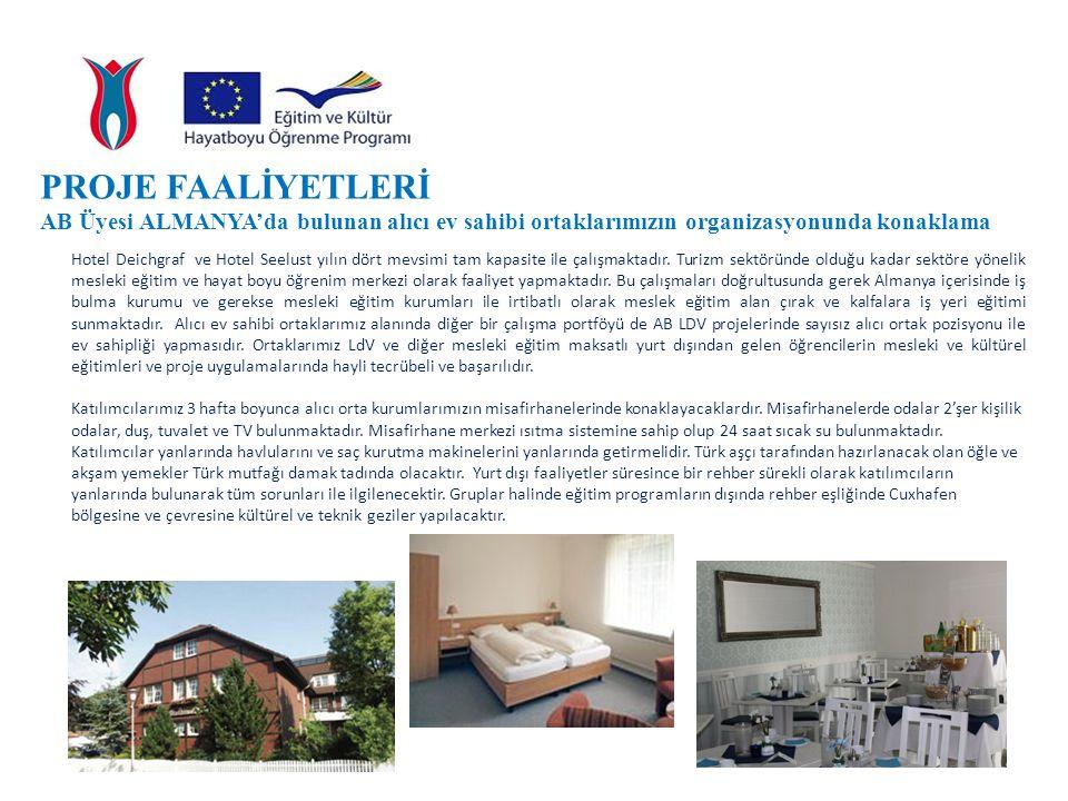 PROJE FAALİYETLERİ AB Üyesi ALMANYA'da bulunan alıcı ev sahibi ortaklarımızın organizasyonunda konaklama.