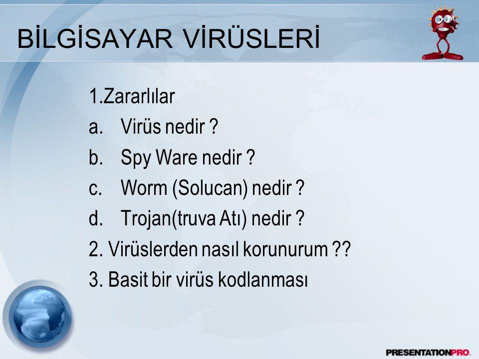 BİLGİSAYAR VİRÜSLERİ 1.Zararlılar Virüs nedir Spy Ware nedir