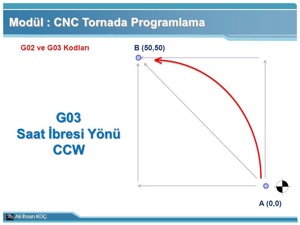 G03 Saat İbresi Yönü CCW Modül : CNC Tornada Programlama