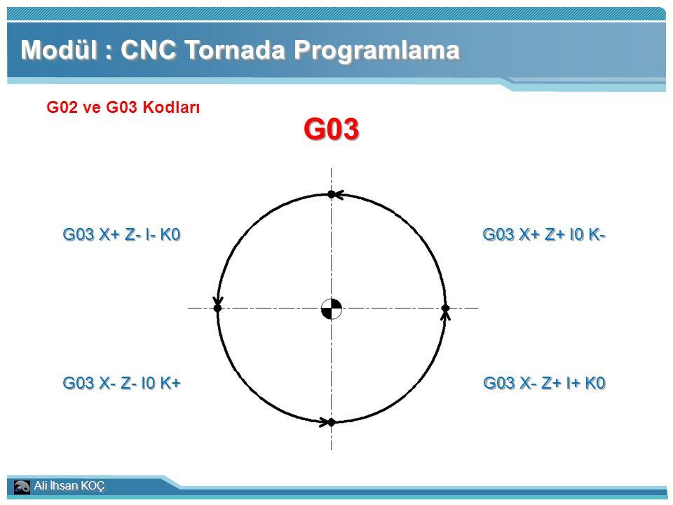 G03 Modül : CNC Tornada Programlama G02 ve G03 Kodları G03 X+ Z- I- K0