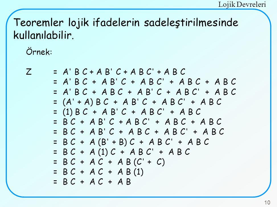 Teoremler lojik ifadelerin sadeleştirilmesinde kullanılabilir.