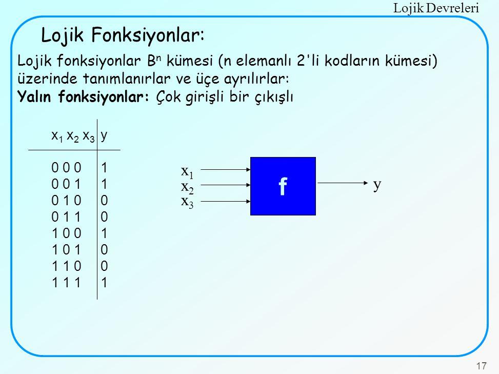 f Lojik Fonksiyonlar: x1 y x2 x3